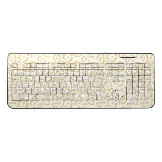 Tan Cheetah Animal Cat Print Wireless Keyboard