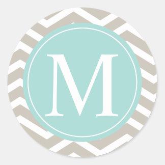 Tan Chevron Turquoise Monogram Round Sticker