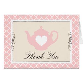 Tan chic et carte de remerciements rose de treilli