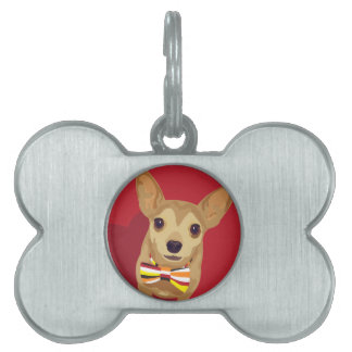 Tan Chihuahua with a bow tie in a red heart Pet ID Tag