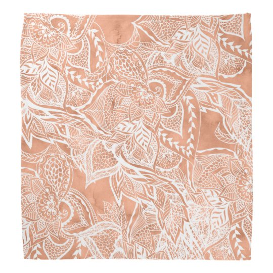 Tan copper terracotta floral watercolor pattern do-rags
