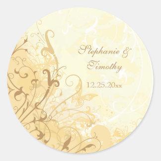 Tan cream butterfly swirls wedding stickers
