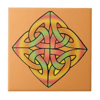 Tan Diamond Celtic Knot Tile
