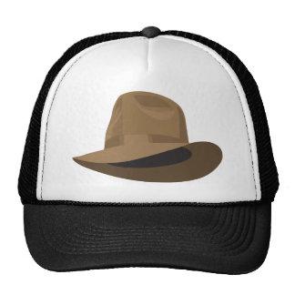 Tan Fedora narrow ribbon Trucker Hats