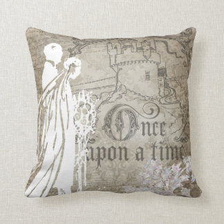 Tan Floral Once Upon a Time Pillow