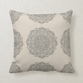Tan Flower Mandala Throw Pillow
