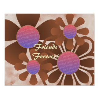 Tan Flowers Photo Frame Print