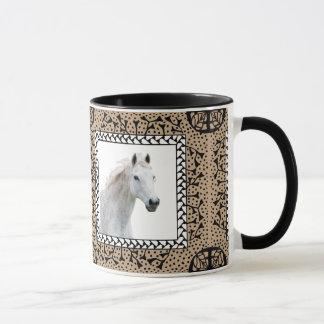 Tan Framed Horse Mug
