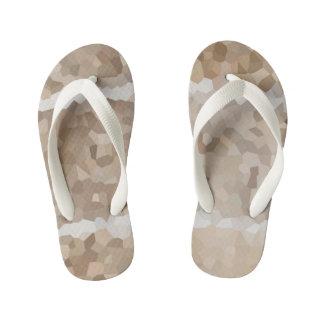 Tan Geometric Kid's Flip Flops