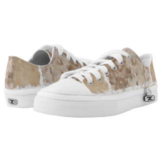 Tan Geometric Low-Top Sneakers