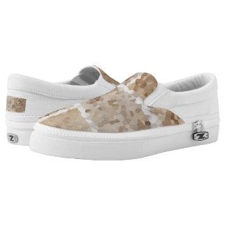 Tan Geometric Slip-On Sneakers