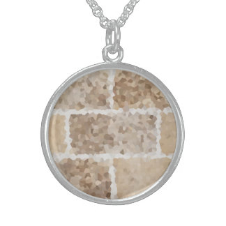 Tan Geometric Sterling Silver Necklace
