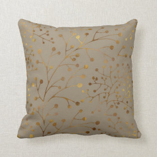 Tan & Gold Branches Seamless Pattern Throw Pillow