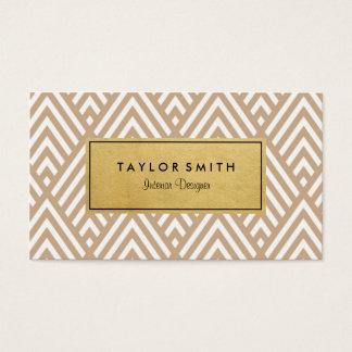 Tan & Gold Chevron Pattern Business Card