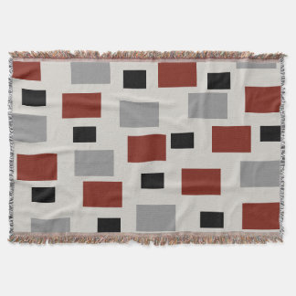 Tan Gray Black Burgundy Rectangle Throw Blanket