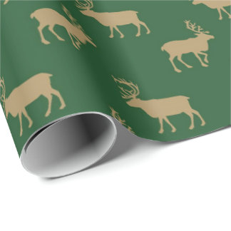 tan green Country moose wrapping paper