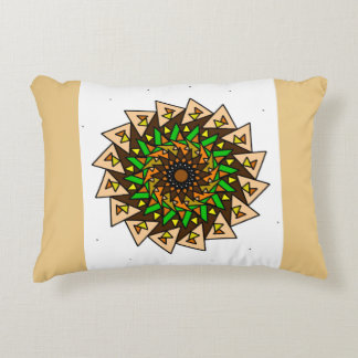 "Tan Green Geometric Star ""Nachos"" Design Pillow"