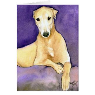 """Tan Greyhound"" Dog Art Greeting Card"