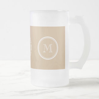 Tan High End Colored Monogrammed 16 Oz Frosted Glass Beer Mug