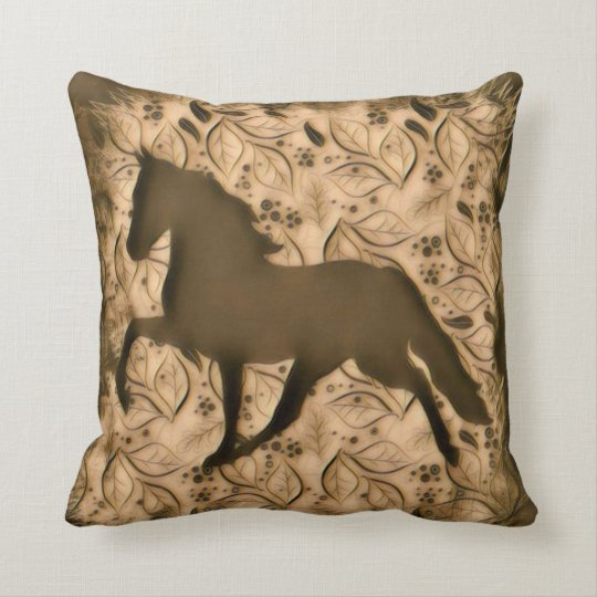 Tan Horse Silhouette Throw Pillow