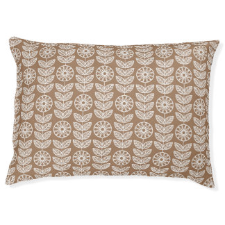 Tan Lace Floral (1).jpg Large Dog Bed