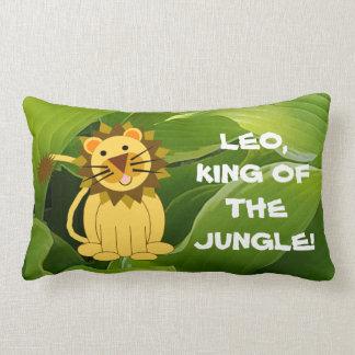 Tan Lion And Green Hostas King of The Jungle Lumbar Pillow