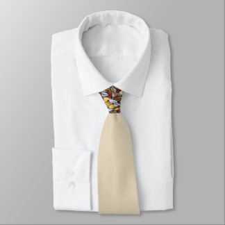 Tan Man's Tie with Small Abstract Design