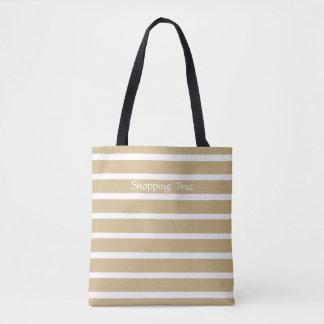 Tan Neutral Stripes Tote Bag
