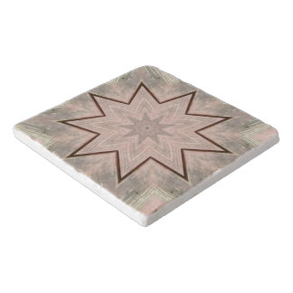 Tan Off White Star Abstract Trivet