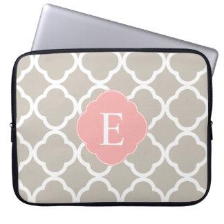 Tan Peach Pink Quatrefoil Monogram Laptop Sleeve