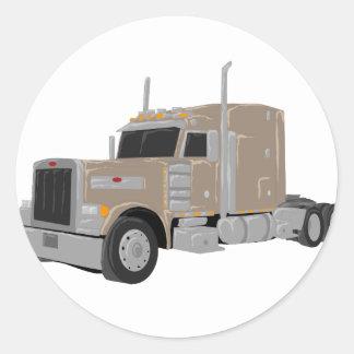 tan peter built truck round sticker