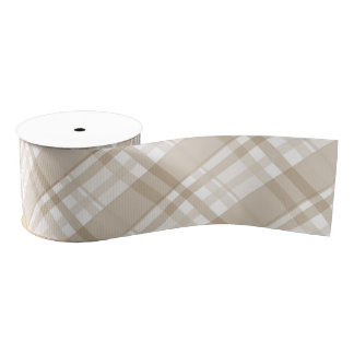 tan plaid grosgrain ribbon
