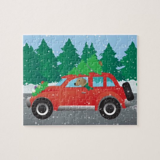 Tan Plott Hound Driving Christmas Car Jigsaw Puzzle
