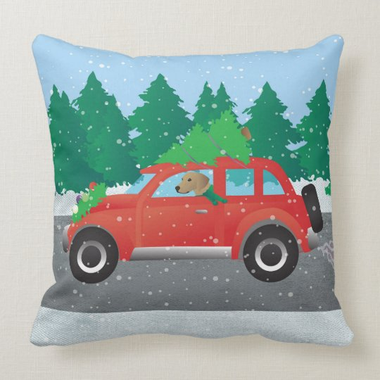 Tan Plott Hound Driving Christmas Car Throw Pillow