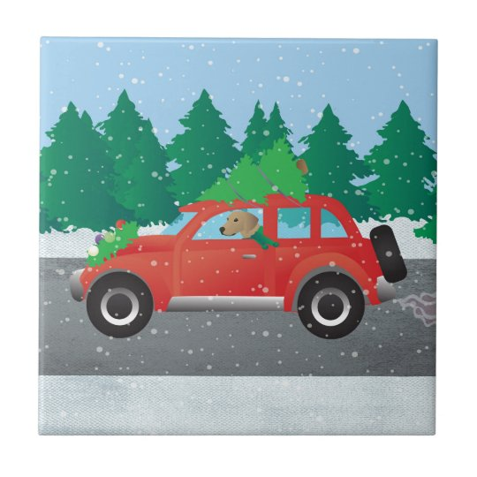Tan Plott Hound Driving Christmas Car Tile
