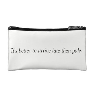 Tan quote cosmetics bag