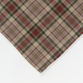 Tan, Red and Green Plaid Fleece Blanket