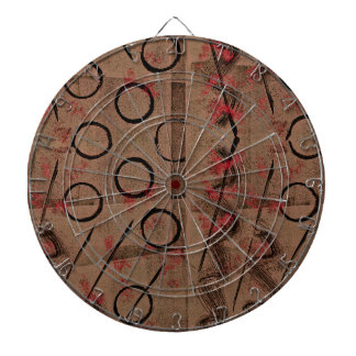 Tan Red Black Abstract Dartboard