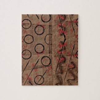 Tan Red Black Abstract Jigsaw Puzzle