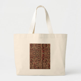 Tan Red Black Abstract Large Tote Bag