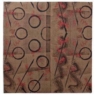Tan Red Black Abstract Napkin