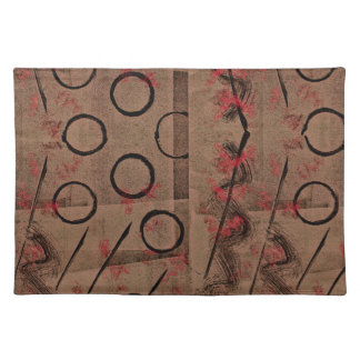 Tan Red Black Abstract Placemat