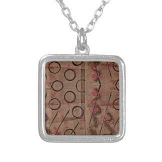 Tan Red Black Abstract Silver Plated Necklace