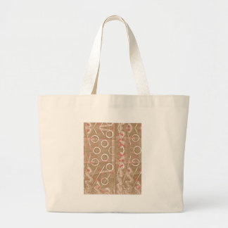 Tan Rust White Abstract Large Tote Bag