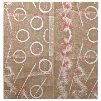 Tan Rust White Abstract Napkin