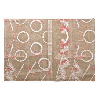 Tan Rust White Abstract Place Mats