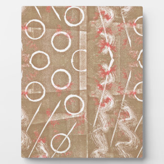 Tan Rust White Abstract Plaque