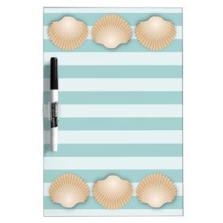 Tan Seashells & Sea Foam Green Nautical Stripes Dry Erase Board