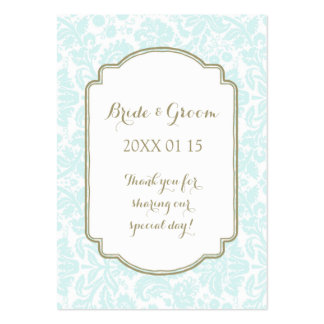 Tan Sky Blue Damask Wedding Favor Tags Pack Of Chubby Business Cards