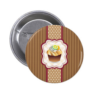 Tan Stripes Lime Cupcake 2 Inch Round Button